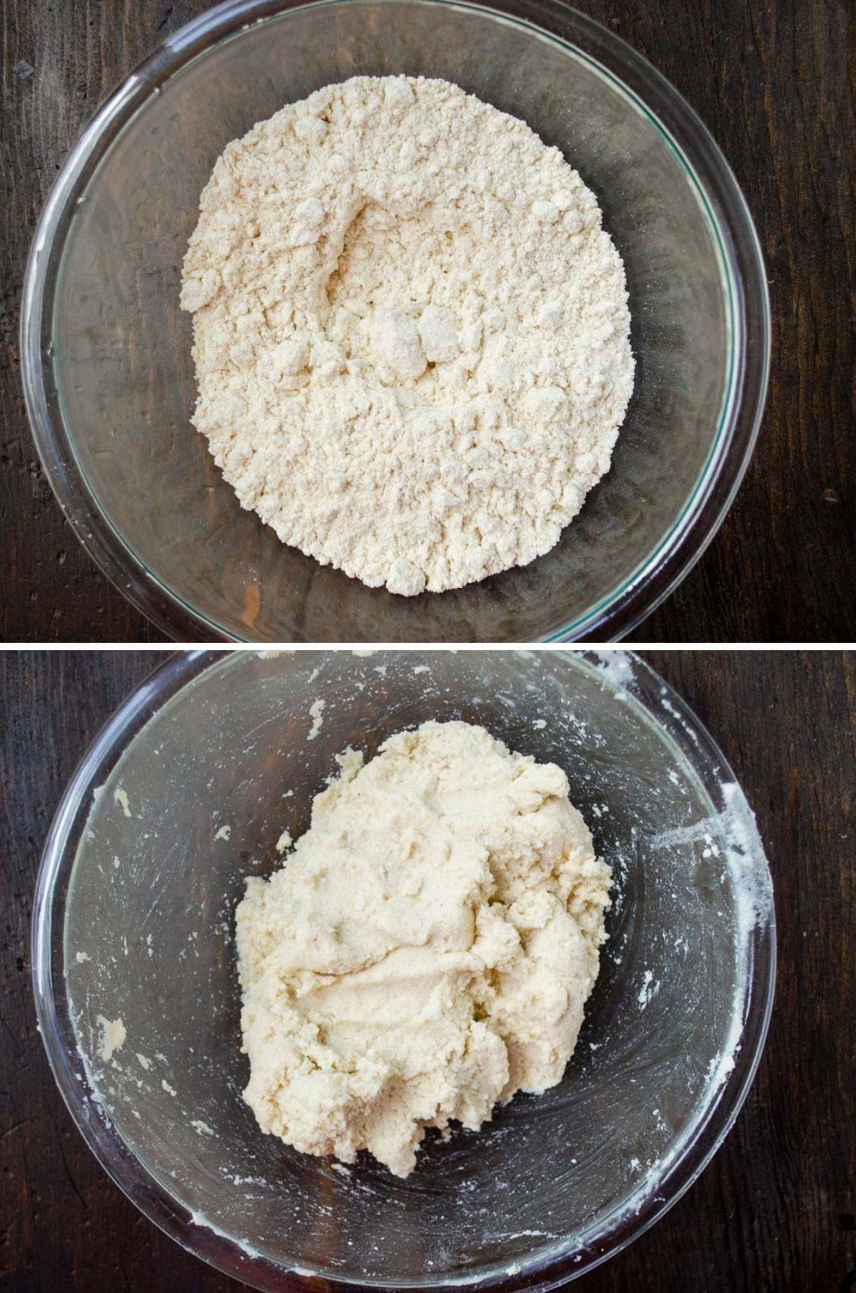 from top to bottom, glass bowl full of masa harina, masa harina mixed with water to make dough