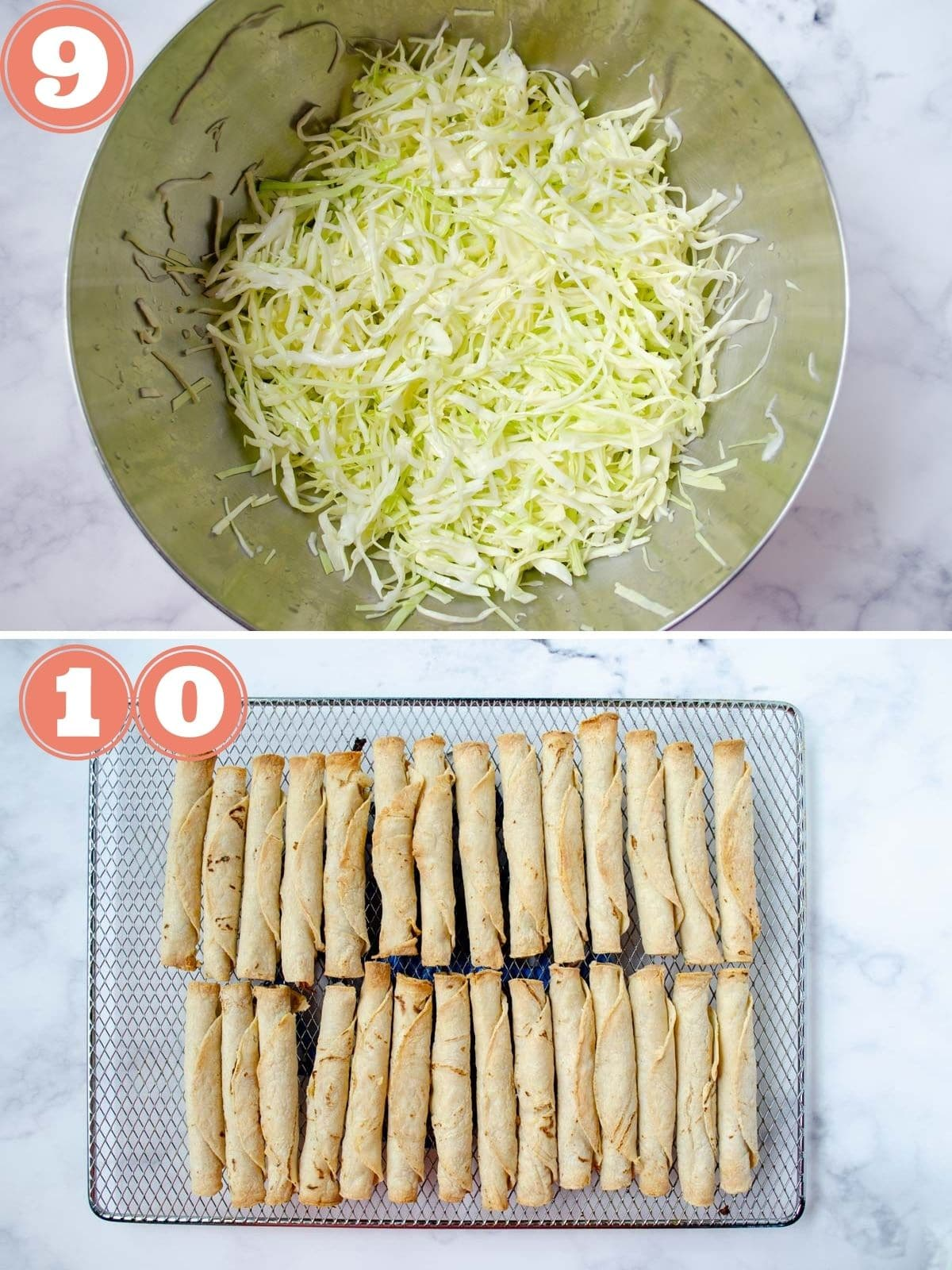 from top to bottom, a big bowl of cabbage, a rack with the cooked tacos