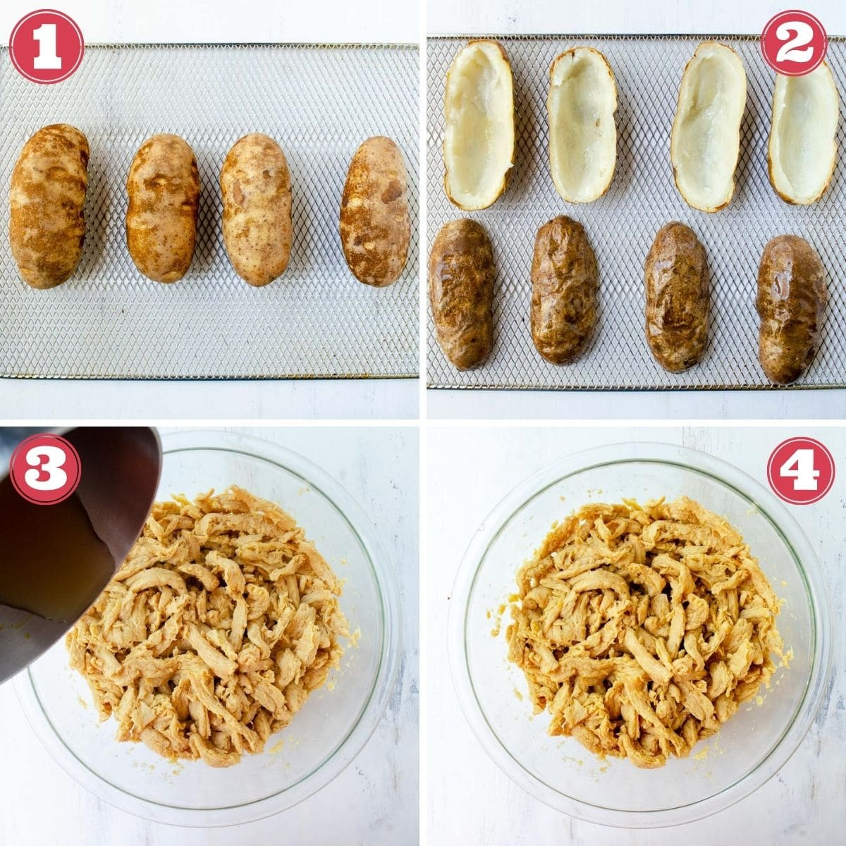 from left to right 4 potatoes on a rack, potatoes scooped out on a rack, hot broth being poured on soy curls, a bowl of soy curls soaking