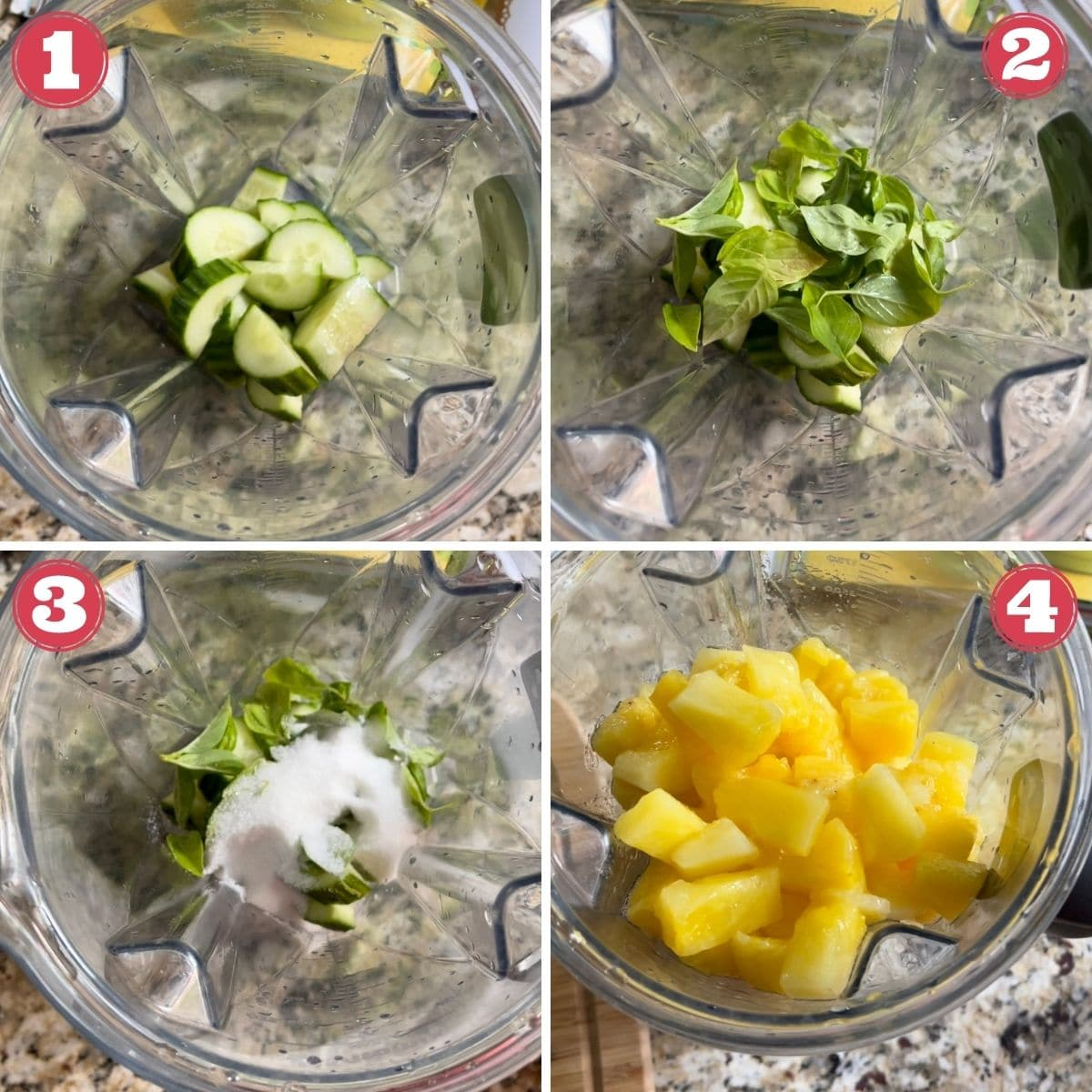 from left to right blender with cucumber, basil added to blender, sugar added to blender, pineapple added to blender