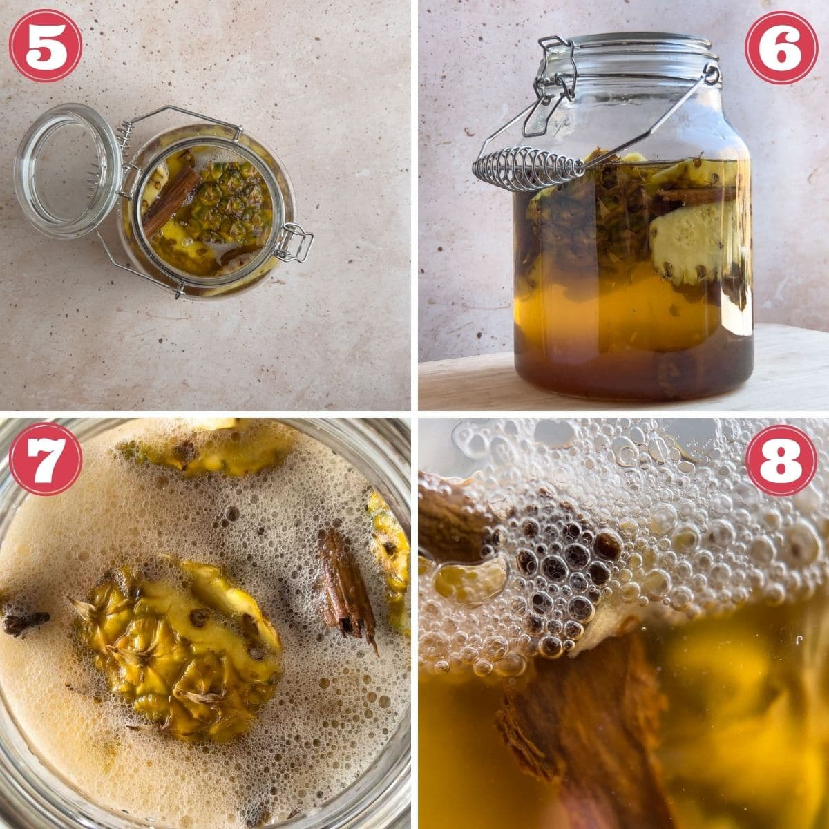 from left to right cinnamon added to jar full pf pineapple skins, liquid added to jar, surface of jar after fermentation, fermentation bubbles