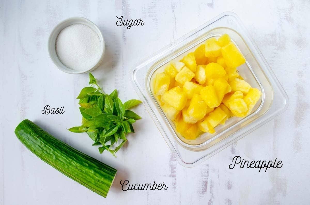 ingredients for pineapple cucumber agua fresca, sugar, basil, pineapple, cucumber