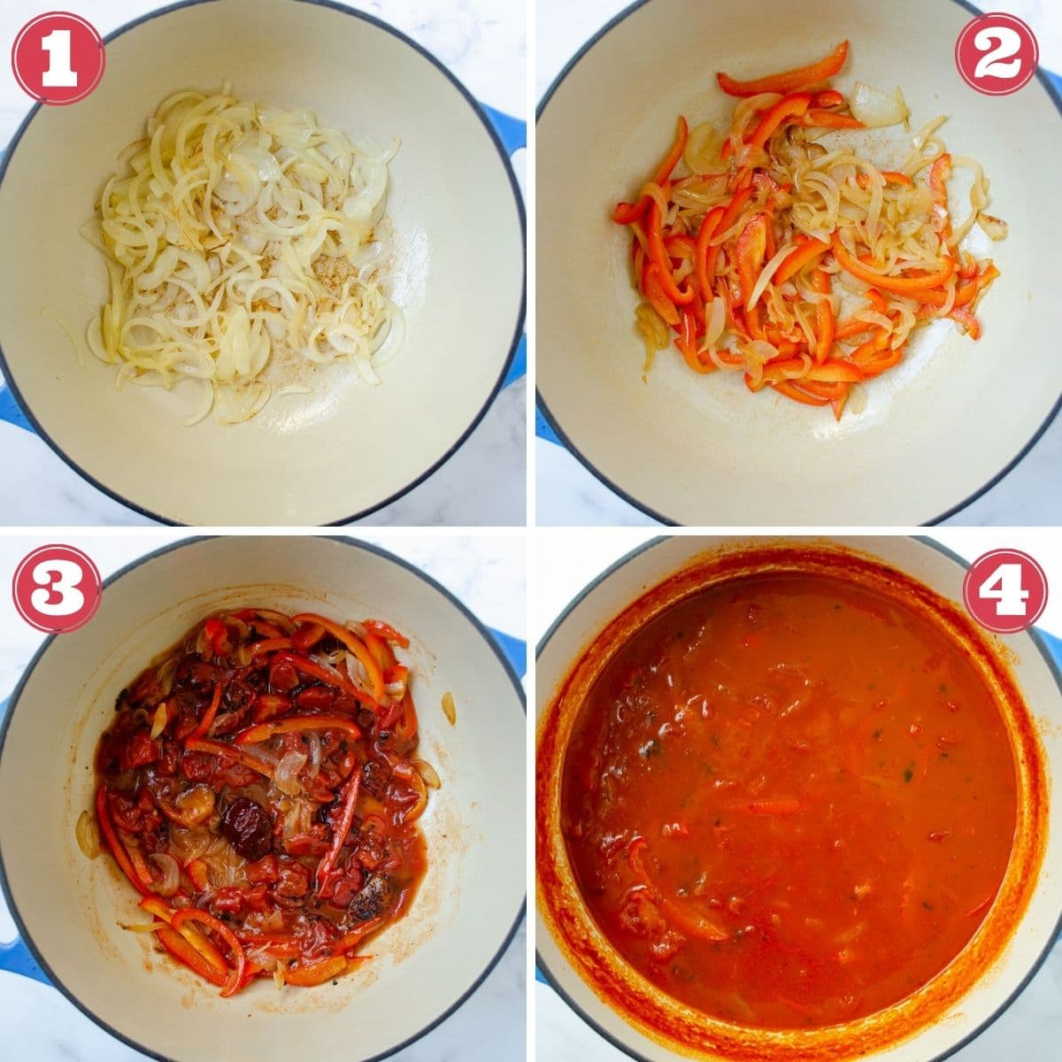 from left to right a a pot with onions cooking, a pot with onions and peppers cooking, a pot with onion, peppers, and chipotle cooking, broth added to the pot